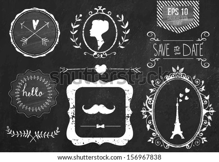 Retro chalk elements and icons set for retro design. Paris style. With ribbon, mustache, bow, eiffel tower, border, woman profile and wedding decor. Vector illustration. Chalkboard background.  - stock vector