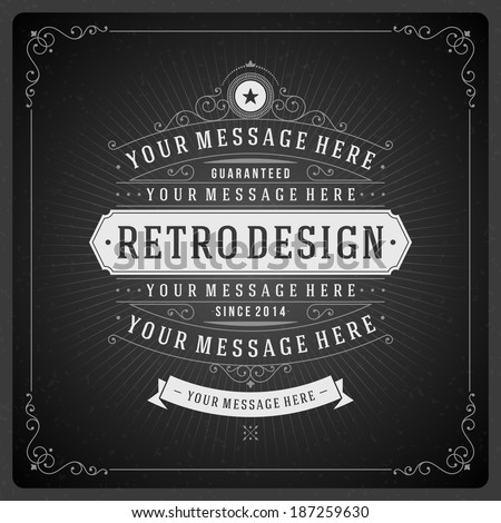 Retro chalkboard typographic design elements. Template for design invitations, posters and other design.  - stock vector