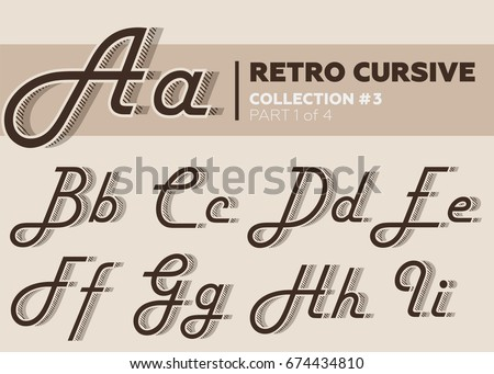 Retro Character Typeset Vintage Layered Alphabet With Striped Shadow Coffee Color Decorative Hand