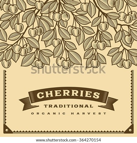 Retro cherry harvest card brown. Editable vector illustration with clipping mask.