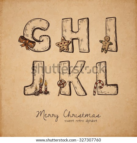 Retro christmas alphabet - g, h, i, j, k, l - vintage letters on realistic old parchment background, with symbols of holiday, decorative artistic elements - stock vector