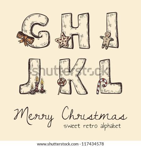 retro christmas alphabet - g, h, j, k, l, i - stock vector