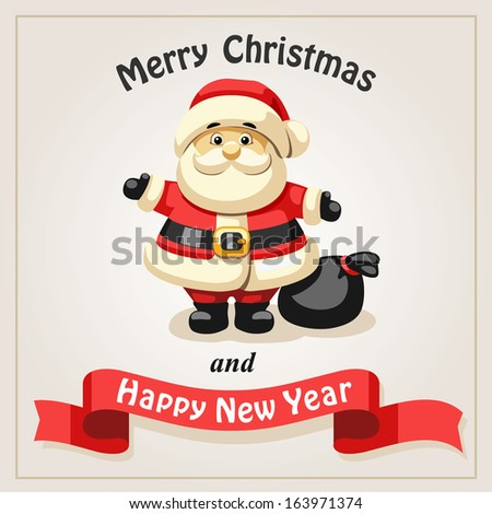 Retro Christmas background with Santa claus - stock vector
