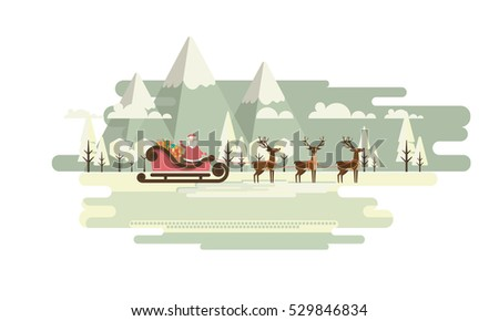 Retro Christmas Background with Santa Claus and Reindeer, Vector Flat Design.