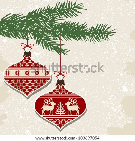 Retro christmas balls with ornaments - stock vector