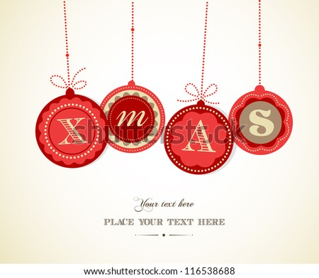 Retro Christmas balls with text space - stock vector