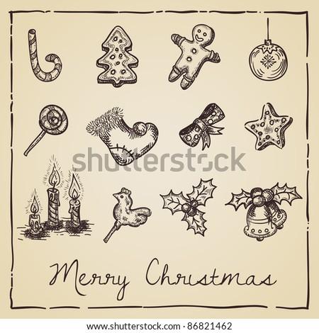 retro Christmas card - stock vector