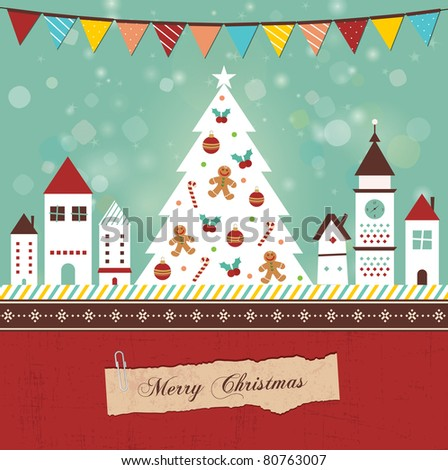 Retro Christmas Card. Beautiful christmas night in town. - stock vector