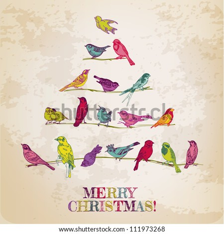 Retro Christmas Card - Birds on Christmas Tree - for invitation, congratulation in vector - stock vector