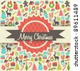 Retro Christmas Card Design with Christmas Elements - stock vector