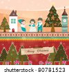 Retro Christmas Card. Family are Celebrating Xmas at Night with Peaceful. - stock vector