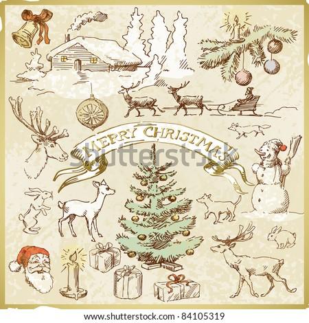retro christmas card - hand drawn collection - stock vector
