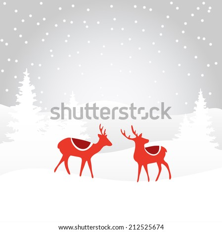Retro Christmas card invitation with reindeer in the winter snowy forest, vector illustration - stock vector