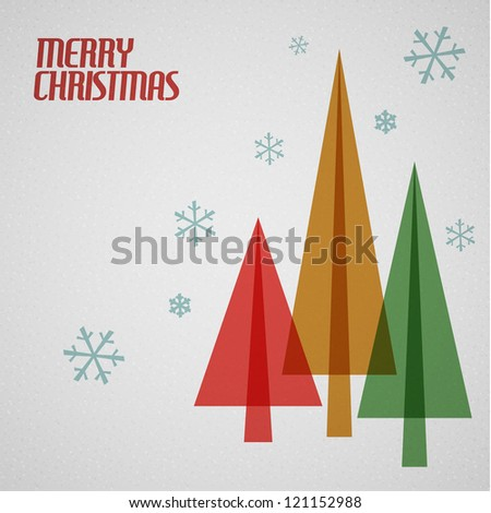 Retro Christmas card with christmas tress and snowflakes - teal, brown and red - stock vector