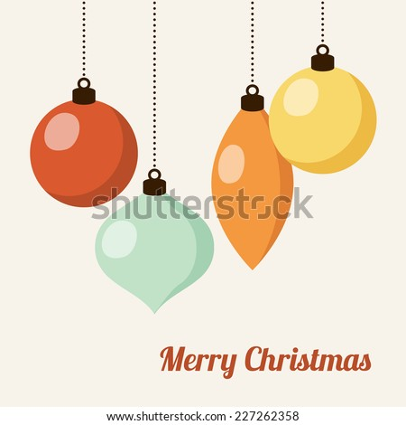 Retro christmas card with colorful christmas balls, vector illustration background  - stock vector