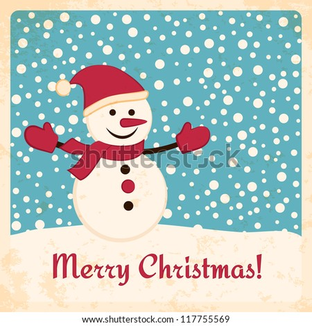 Retro Christmas card with happy snowman on falling snow background. Grunge effects can be easily removed.