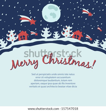 Retro Christmas card with snowfall landscape - stock vector