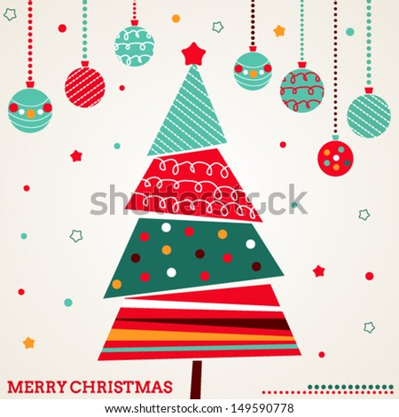 Retro Christmas card with tree and ornaments - stock vector