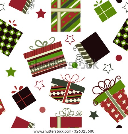 Retro Christmas Gift boxes Seamless pattern background