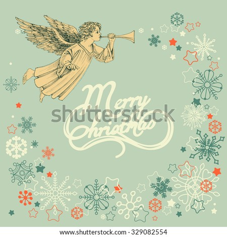 Retro Christmas greeting card, angel and snowflakes frame - stock vector