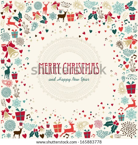 Retro Christmas greeting card background. EPS10 vector file organized in layers for easy editing. - stock vector