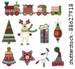 Retro Christmas icons - stock vector