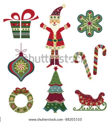 Retro Christmas icons - stock vector