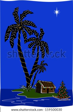 Retro Christmas Island Lagoon Tiki Hut with Palm Trees Vector Illustration - stock vector