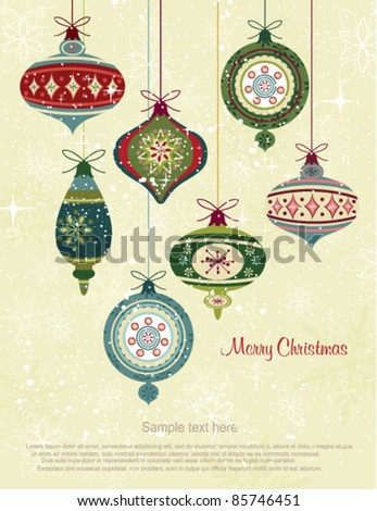 Retro Christmas Ornaments - stock vector