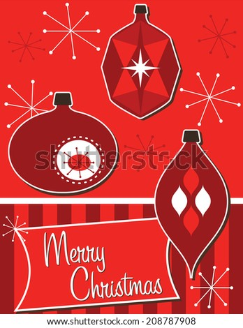 Retro Christmas Ornaments-Merry Christmas card or poster with three retro ornaments  - stock vector