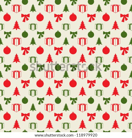 Retro Christmas pattern in editable vector format - stock vector