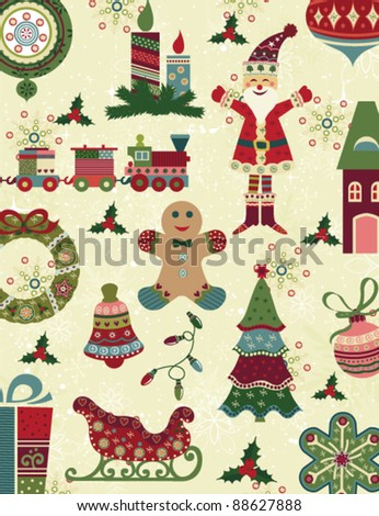 Retro Christmas pattern with christmas icons - stock vector
