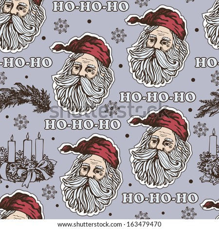 Retro Christmas pattern with Santa Claus.Vector background for textile, wrapping paper and other printing and web projects. - stock vector