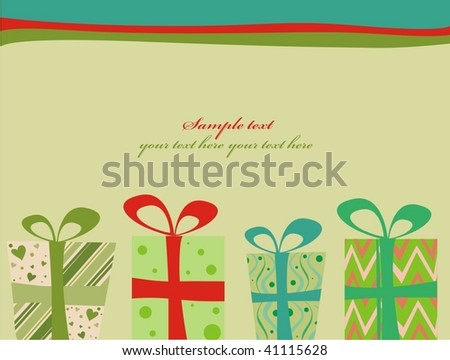 Retro Christmas Presents - stock vector