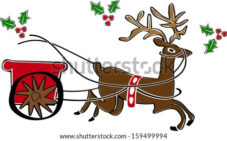 Retro Christmas Reindeer and Sleigh Vector Illustration - stock vector