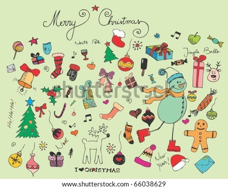Retro Christmas set of elements - stock vector