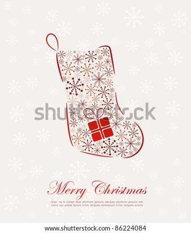 Retro Christmas sock with a gift - stock vector