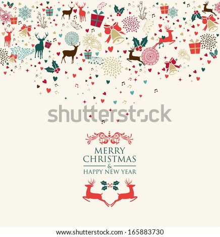 Retro Christmas splash colors elements postcard background. EPS10 vector file organized in layers for easy editing. - stock vector