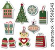 Retro Christmas stickers - stock photo