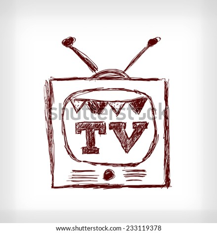 Retro christmas TV. Hand drawn vector illustration on light grey background - stock vector