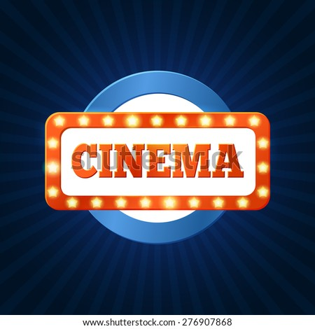 Retro cinema billboard with lights lamps. Colorful vector illustration - stock vector