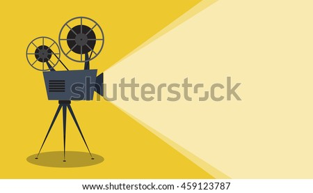 Retro cinema icon with text place, vector illustration
