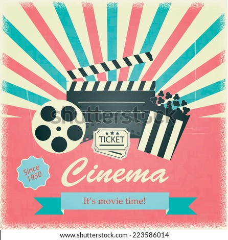 Retro cinema poster; vector. Vintage background illustration with filmstrip; popcorn and tickets  - stock vector