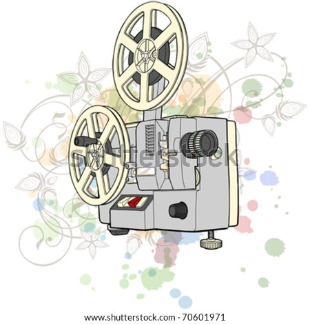 Retro Cinema projector & floral calligraphy ornament - a stylized orchid, color paint background - stock vector