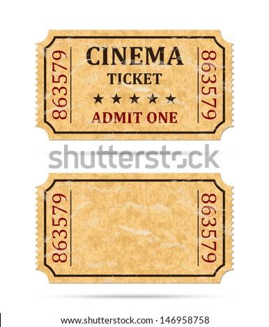 Retro cinema ticket and empty ticket - stock vector