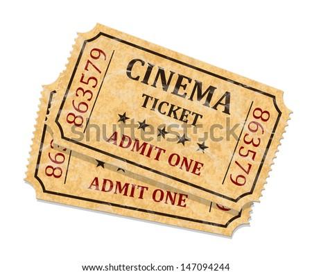 Retro cinema tickets on white background, vector - stock vector