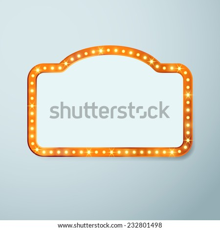 Retro cinema vintage old bulb frame sign - light theater casino or circus illuminated banner. Vector illustration - stock vector