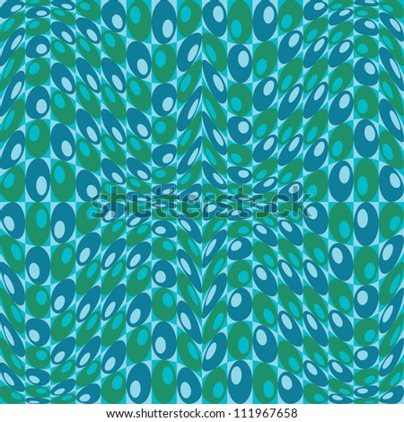 Retro Circles Pattern in blues and greens repeats seamlessly. - stock vector