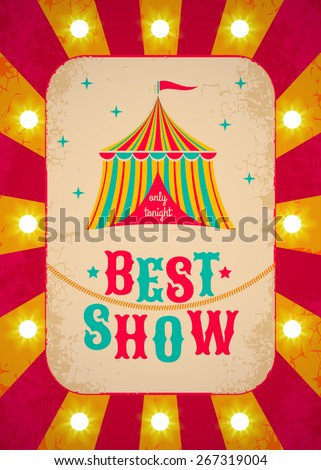 Retro circus poster with tent - stock vector