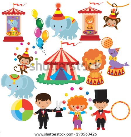 Retro Circus Vector Illustration 198560426